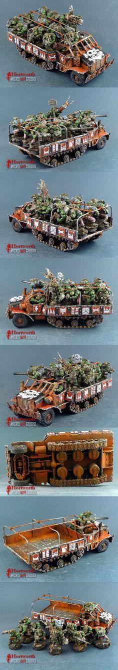 Freebotaz Orks in scratchbuilt trukk