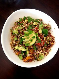 Delicious a 9 ingredient Salad!  Red Quinoa, Roasted pumpkin and Capsicum, Baby Spinach, Avocado, Pasley, Pinenuts, Red onion and lemon juice!  Great recipes can also be found in my book 'Lose Weight for Life' www.claireturnbull.co.nz/author