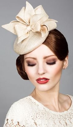 Rachel Trevor Morgan, S/S 2014. Fine natural straw pillbox with straw bows. #passion4hats