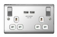 Lot de 2 x USB Blanc Double Socket 13 A Avec Double USB Prise Plug 2 Gang 2.1amp