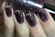 Showgirl Nail Polish Black and Pink Glitter Nail by KBShimmer