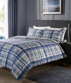 Shrewsbury Reversible Check And Stripe Duvet Cover Set In Denim Blue - Double Duvet Sets, Duvet Cover Sets, Blue Duvet, Capri Blue, Guest Bedrooms, Bathroom Accessories, Blue Denim, Blanket, Furniture