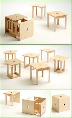 Salone Satellite: Naho Matsumo e Folding Furniture, Multifunctional Furniture, Smart Furniture, Space Saving Furniture, Furniture For Small Spaces, Wood Furniture, Furniture Design, Cardboard Chair, Minimalist Sofa