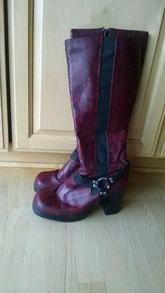2f3c4894a5540 Fun red reptile print biker boots Biker Boots