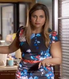 Mindy's black and blue floral cap sleeve dress on The Mindy Project