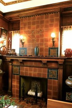 Sources for arts crafts tile glazed ceramic fireplace for Arts and crafts tile fireplace