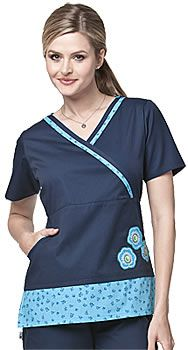 Mary Engelbreit Contrast Trim Scrub Top