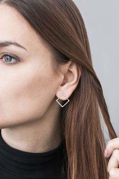 Double Square by Magdalena Paszkiewicz / earrings / silver #silverearrings