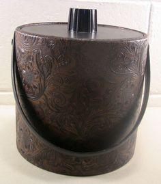Vintage Barware Mid Vintage Barware Vintage Ice Bucket Vintage Bar Black Brown #Irvinware