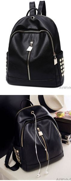 Leisure Black PU Lichee Pattern Punk Rivet Zipper School Headphone Hole College Backpack for big sale ! #backpack #college #bag #Punk #rivet #rucksack #school