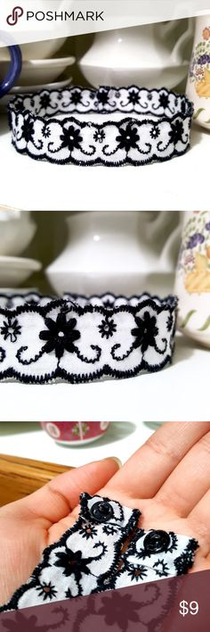 "Floral Embroidered Trim Choker ASK ME TO CREATE A NEW LISTING W/ YOUR LIKES for 10% DISCOUNT DON'T USE ""ADD TO BUNDLE"" BUTTON ⇨ Get a FREE Bracelet!  •Handmade by me!  •Delicate black & white embroidered trim lace with flower design.   •ⓢⓘⓩⓔ: 13.5 inches around neck (secure with metal snap fasteners) CUSTOMIZABLE! Need a custom size?? Leave me a comment with your neck length✌  •Coachella/BurningMan/rock/edc/raves/Gypsy/Bohemian/Vintage/90s/Gothic/Goth/Dark/Victorian Handmade by me! Jewelry…"