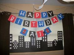 Spiderman inspired Birthday Banner by RedRosebudsCreations on Etsy, $15.99