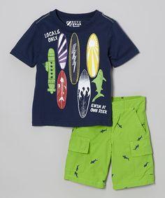 Surfboard Tee  Green Boardshorts @Pascale Lemay De Groof
