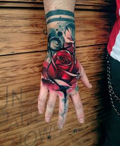 Watercolor rose hand tattoo - 60 Eye-Catching Tattoos on Hand