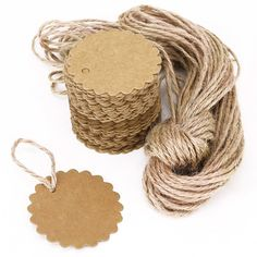 LEORX Gift Tag Price Label Luggage Tag 100pcs 60mm Kraft Paper Card with 10M Jute Twine *** Check this awesome product by going to the link at the image.