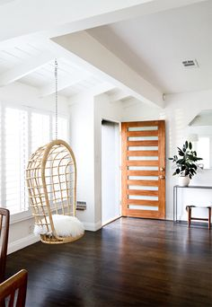 Love the door and the hanging chair.