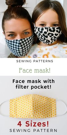 Face Mask with filter pocket Sewing Pattern PDF Mask for kids man wumen Washable Reusable Mask Dust mouth Mask Beginner Easy project Face Masks For Kids, Easy Face Masks, Diy Face Mask, Homemade Face Masks, Bag Patterns To Sew, Sewing Patterns Free, Free Pattern, Pattern Sewing, Free Sewing