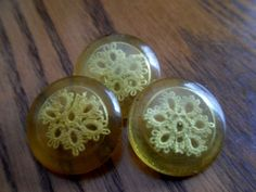 Vintage Beauties...Unusual Lucite Buttons with Crochet Lace...Unique