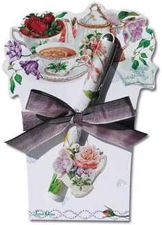 Tea Rose Cottage Die Cut Notepad with Pen