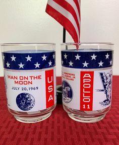 Commemorative ApolloII Man on the Moon Glasses Set of 2 | Etsy