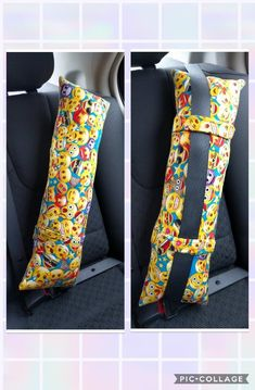 This pillow make the perfect car pillow for long or short road trips when you just need to lay your head on a pillow. It has Velcro straps on the back to wrap Sewing Projects For Kids, Sewing For Kids, Sewing Crafts, Sewing Tutorials, Sewing Patterns, Seat Belt Pillow, Cushion Pillow, Toddler Car Seat, Toddler Girl