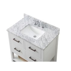 Contemporary Style 36-inch Single Sink Bathroom Vanity in White Finish with Framed Mirror