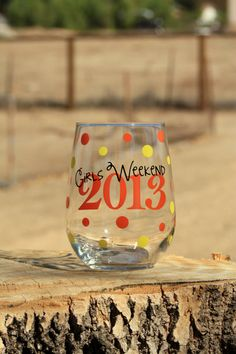 5 Personalized Girls Weekend Stemless Wine Glasses. by JcDezigns, $50.00