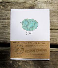 Sleeping CAT Spirit Animal Totem Animal Card Totem Animal Illustrated Handmade by dproject #geometric #print