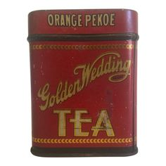 This rare vintage early Golden Wedding Orange Pekoe tea lithograph print tin container box is a very special and unique piece to add to your. Tea Canisters, Tea Tins, Vintage Tins, Vintage Coffee, Vintage Kitchenware, Orange Pekoe Tea, Antique Bottles, Vintage Bottles, Vintage Perfume