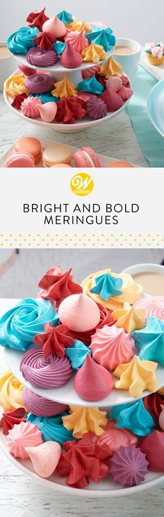 Looking for a quick and easy treat for an upcoming birthday party? These Bright and Bold Meringues are just what you need! Using our meringue mix, these are simple to make and pack a colorful punch! #wiltoncakes #birthday #birthdaypartyideas #birthdaycookies #birthdaycookieideas #birthdaydesserts #birthdaytreatstotaketoschool #birthdaythemes #birthdaytreats #birthdaytreatsforschool #birthdayideas #birthdaypartyfood #birthdaykids #classicbirthdaycookies #colorfulbirthday #meringuecookies
