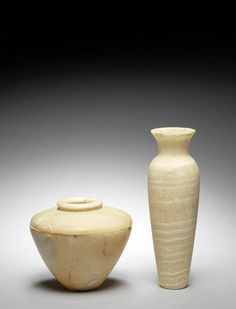 An Egyptian alabaster jar. Early Dynastic Period, circa 3100-2573 B.C.