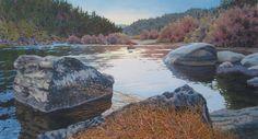 """Alan Sanborn Watercolor - Klamath River at Ti Bar 16"""" x 30"""""""