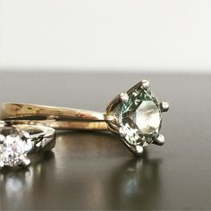One of my favorite work❤️ white and red gold with a minty aquamarine. Princessring💎
