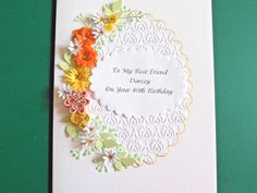 Personalised Handmade Luxury Birthday//AnniversaryCard.Quilled Roses multi colour