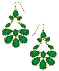Blu Bijoux Green and Gold Chandelier Earrings