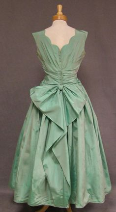 Emma Domb Misty Green Taffeta 1950's Evening Dress (back)