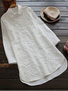 Buttoned Embroidered Blouse Collared Shirt - WHITE M