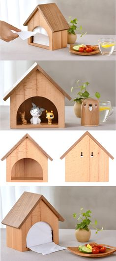 Wooden House Desk Tissue Box Cover Tissue Box Holder House desktop ornaments handmade wood House figurine new creative home decorations