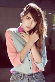colour block shirt + denim.