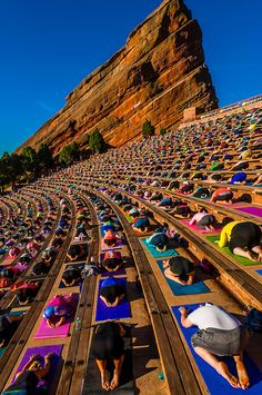 """Yoga on the Rocks""; 2000 people doing yoga together at Red Rocks Amphitheatre, Morrison (Denver), Colorado USA. Colorado Usa, Red Rocks Colorado, Colorado Trip, Boulder Colorado, Colorado Homes, Colorado Springs, Red Rock Amphitheatre, Denver Travel, Events In Denver"
