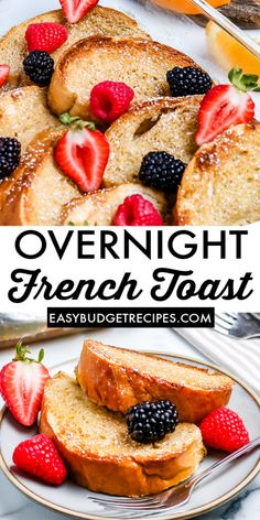 Overnight French Toast Bake is just the dish to serve when you have overnight guests. The French Toast emerges golden brown and puffy from the over. Serve with fresh berries, powdered sugar, and syrup. Breakfast Buffet, Make Ahead Breakfast, Sweet Breakfast, Breakfast Ideas, Gluten Free Recipes For Breakfast, Delicious Breakfast Recipes, Brunch Recipes, Bread Recipes, Budget Dinners