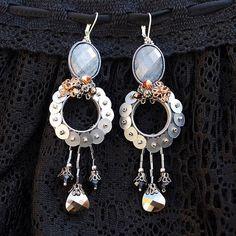 Silver gray soutache earrings. Soutache jewelry. Handmade