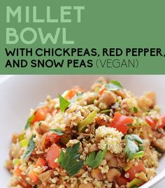 This veggie-studded Millet (or Quinoa) Bowl is filling and really inexpensive. Sub 5-10 drops stevia for the honey, and use 1 cup chickpeas to serve 2 (with 1 cup cooked millet each for Phase 1, or 1/2 cup cooked quinoa each for Phase 3).