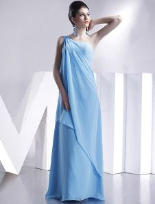 Classic One-Shoulder Floor Length Satin Chiffon Bridesmaid Dress