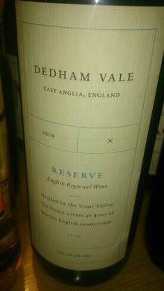 Dedham Vale red wine. English Wine, Vintage Wine, Wine Lover, Sparkling Wine, Welsh, Wines, Red Wine, Vineyard, Bottle