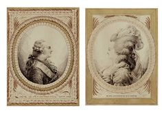 Portraits of Louis XVI and Marie Antoinette by Jean-Joseph Bernard, 18th century