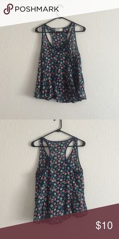 Flowery summer tank Abercrombie flowery tank, polka dot trim around the neck. 100% cotton. Abercrombie & Fitch Tops Tank Tops