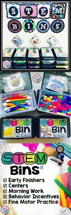 STEM Bins: Hands-on Solutions for Early Finishers.  STEM Bins are plastic school boxes filled with an engineering manipulative of your choice, such as Legos, pattern blocks, base ten blocks, unifix cubes, toothpicks and playdough, or popsicle sticks with velcro on the ends.  The boxes also contain small sets of task cards on metal rings that picture a variety of basic engineering structures.