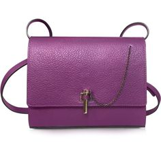 Carven Handbags Malher Violet Grained Leather Crossbody Bag (£335) ❤ liked on Polyvore featuring bags, handbags, shoulder bags, purple crossbody purse, purple handbags, purple shoulder bag, handbags shoulder bags and chain shoulder bag