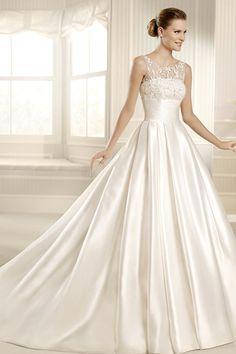 2013 Wedding Dresses A Line Scoop Chapel Train Satin USD 241.99 LDPT8P2D7C - LovingDresses.com